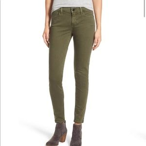 Olive Green Stretch Cotton Skinny Jeans